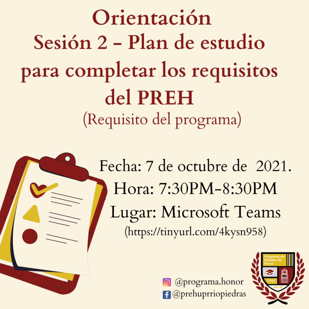 ORIENTACIÓN requisito (Sesión 2): Plan de estudio para completar los requisitos del PREH