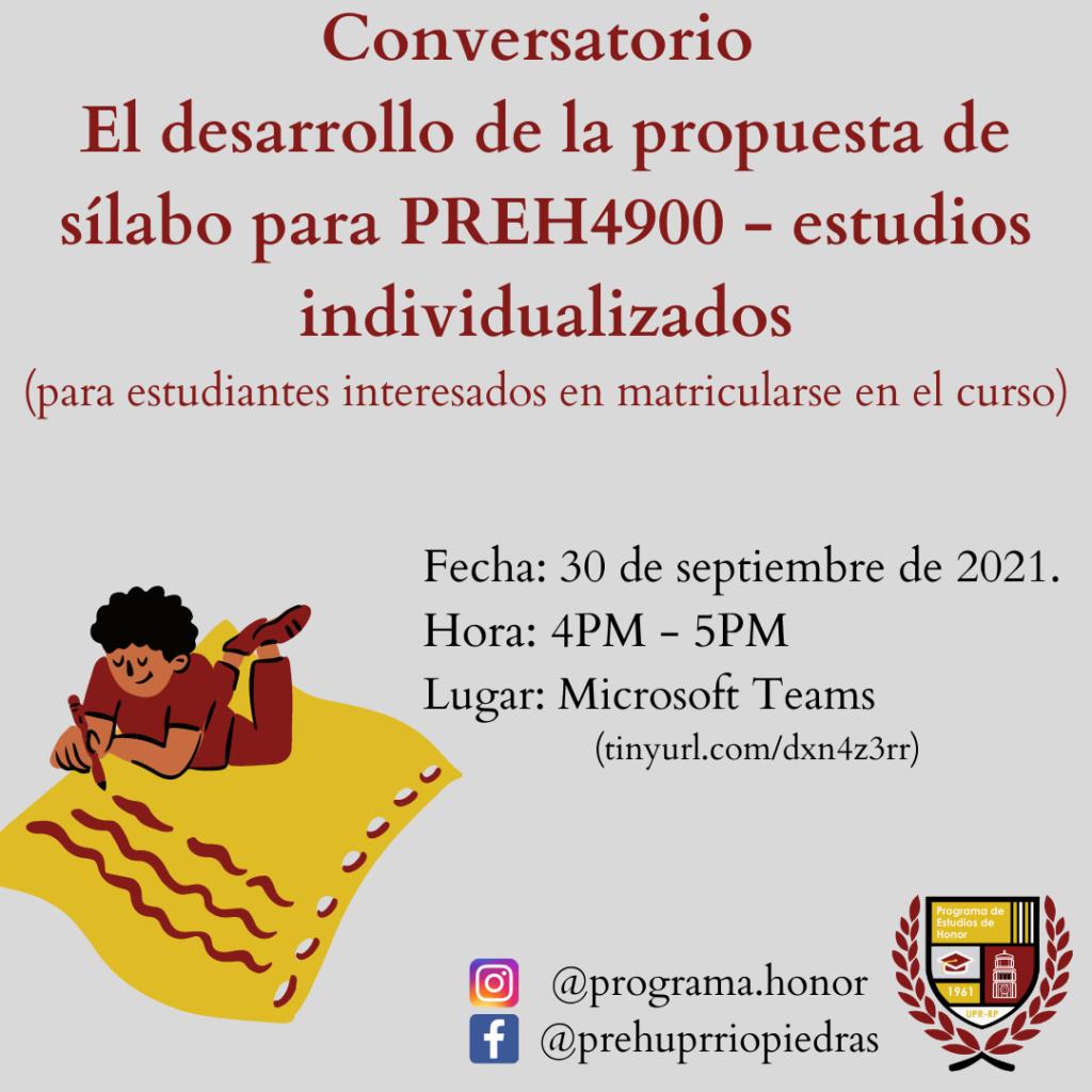 ORIENTACIÓN El desarrollo de la propuesta de sílabo para PREH 4900