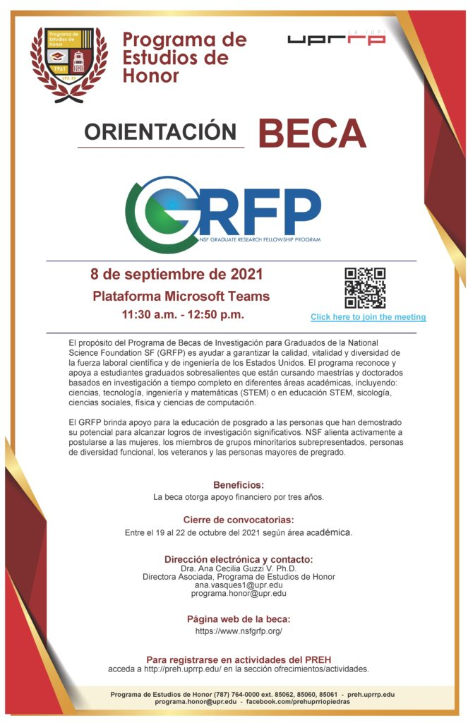 ORIENTACIÓN NATIONAL SCIENCE FOUNDATION GRADUATE RESEARCH FELLOWSHIP PROGRAM (NSF)