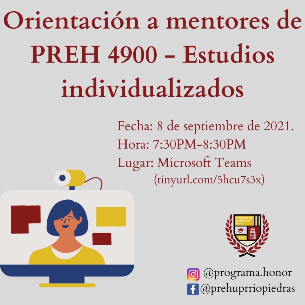 ORIENTACIÓN para mentores de estudiantes matriculados en PREH 4900