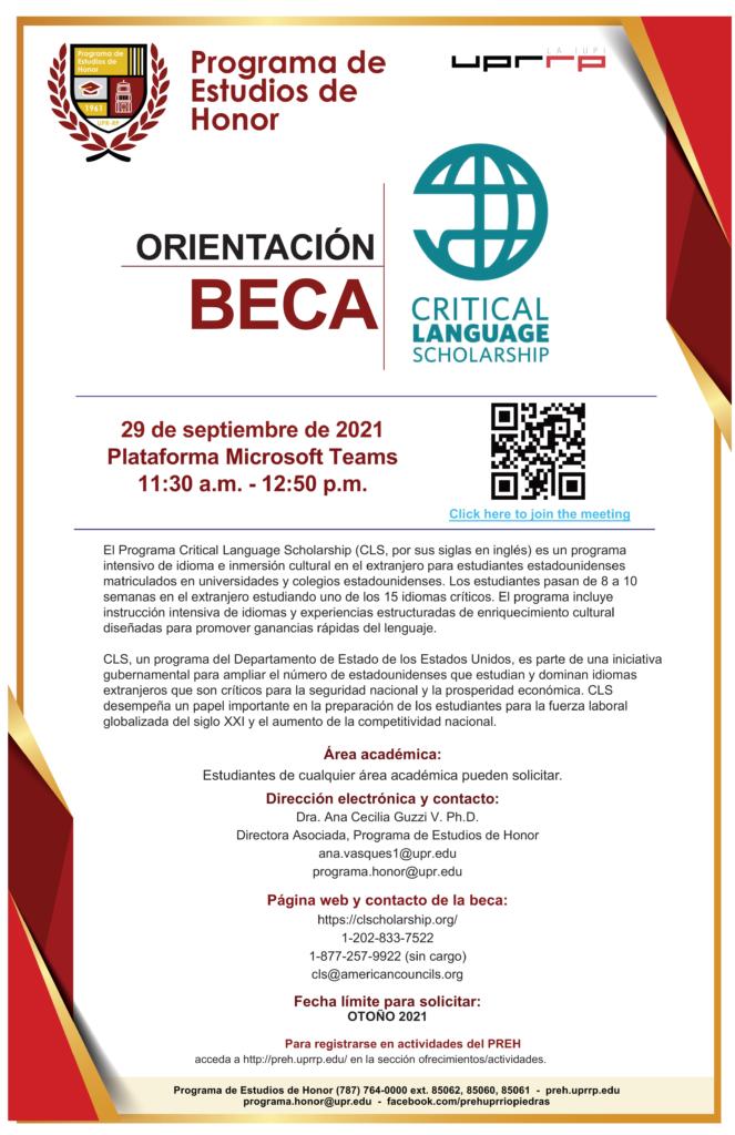 ORIENTACIÓN CRITICAL LANGUAGE SCHOLARSHIP PROGRAM
