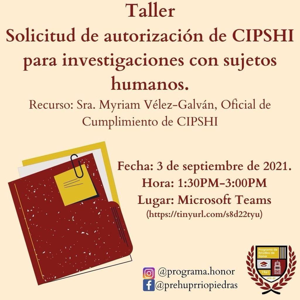TALLER Solicitud de autorización de CIPSHI para investigaciones con sujetos humanos