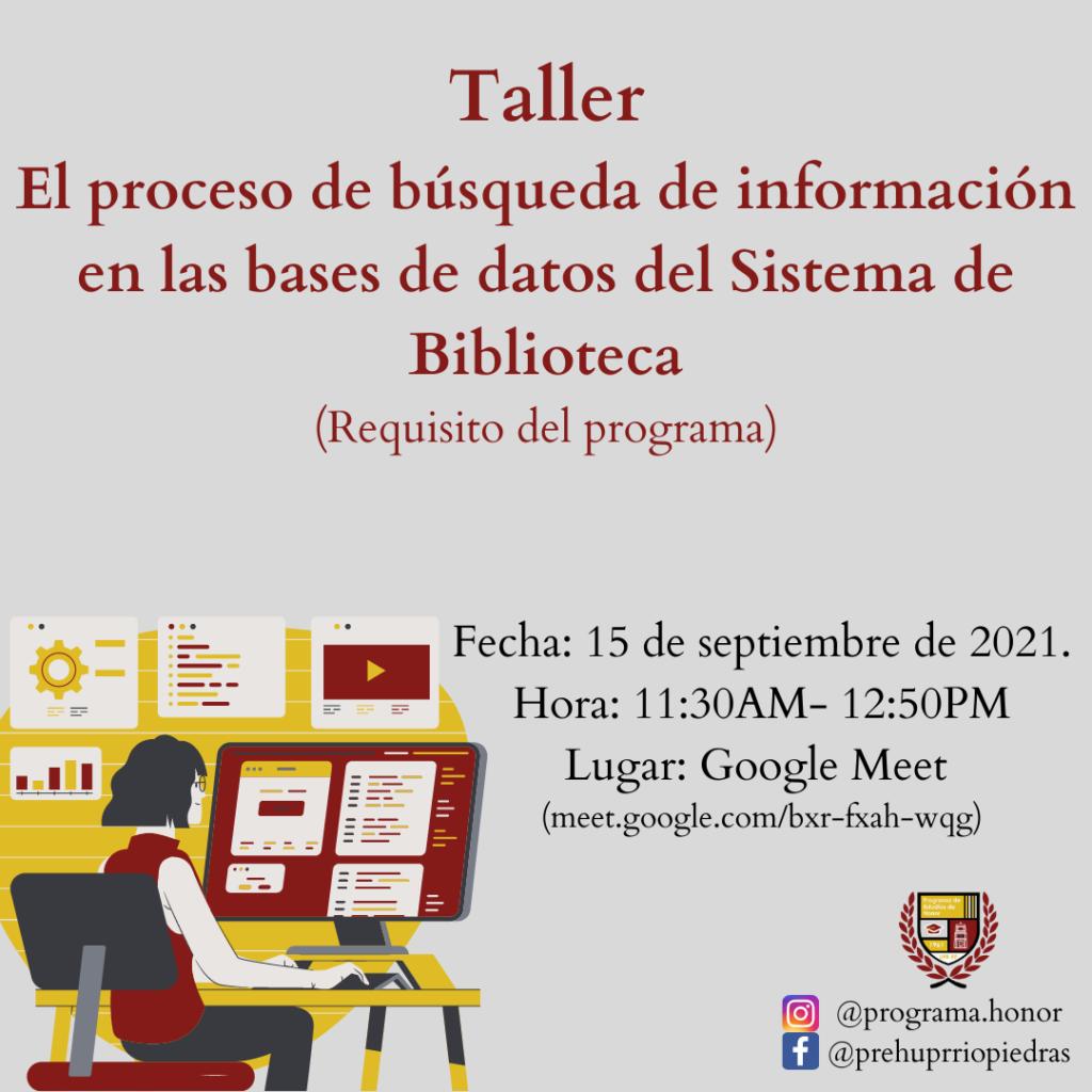 TALLER El proceso de búsqueda de información en las bases de datos del Sistema de Biblioteca