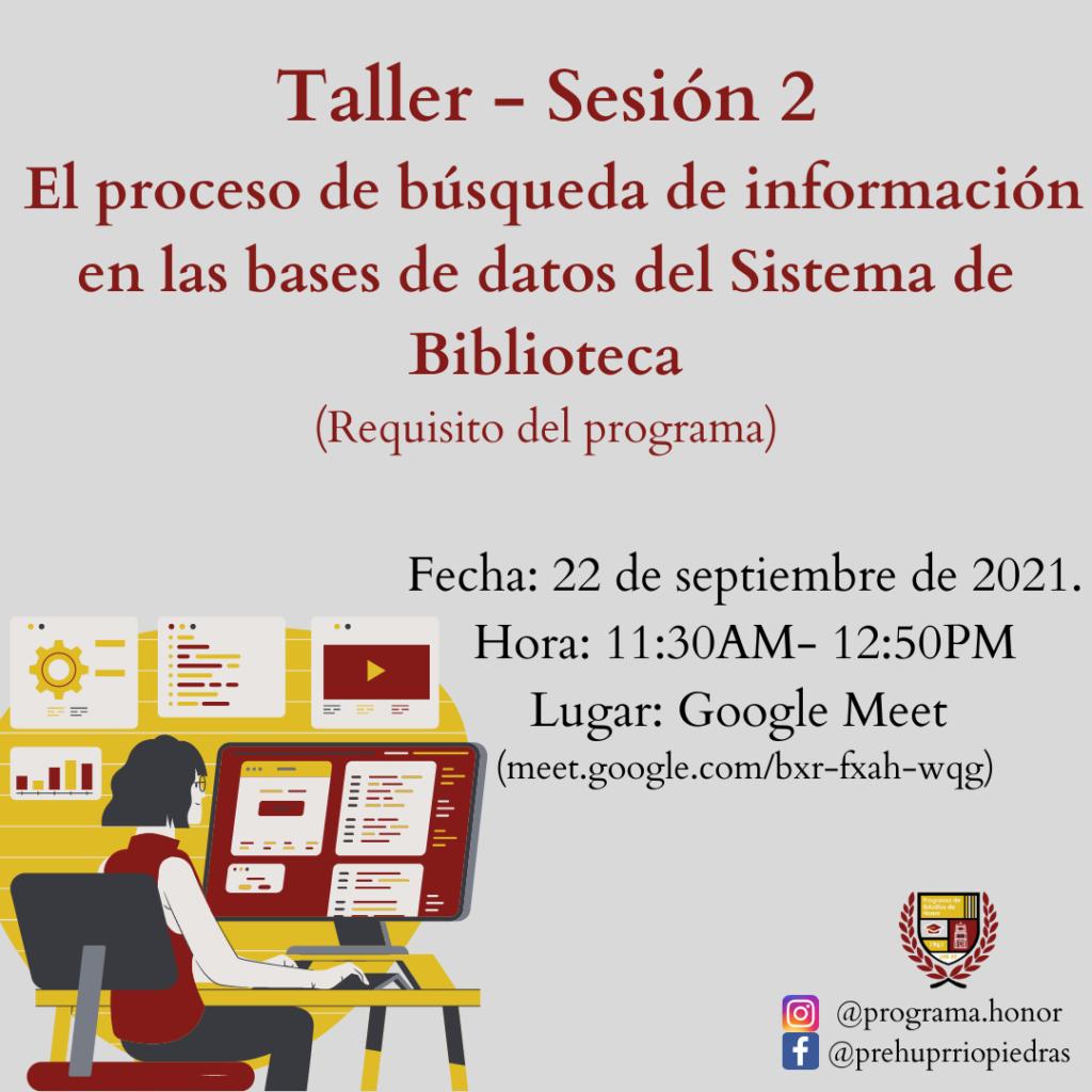 TALLER Sesión 2 El proceso de búsqueda de información en la base de datos del Sistema de Biblioteca
