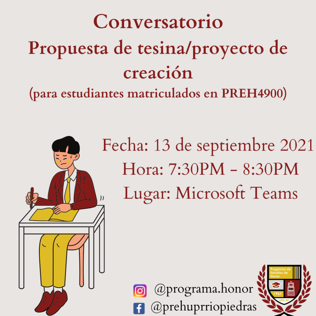 CONVERSATORIO SESIÓN 2 propuesta de tesina/proyecto de creación (estudiantes en PREH 4900)